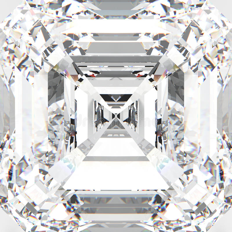 3D macro witte de halfedelsteen dure diamant van het illustratiegezoem stock illustratie