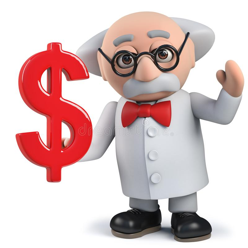 3d mad scientist character holding US Dollar currency symbol. Render of a 3d mad scientist character holding US Dollar currency symbol royalty free stock image