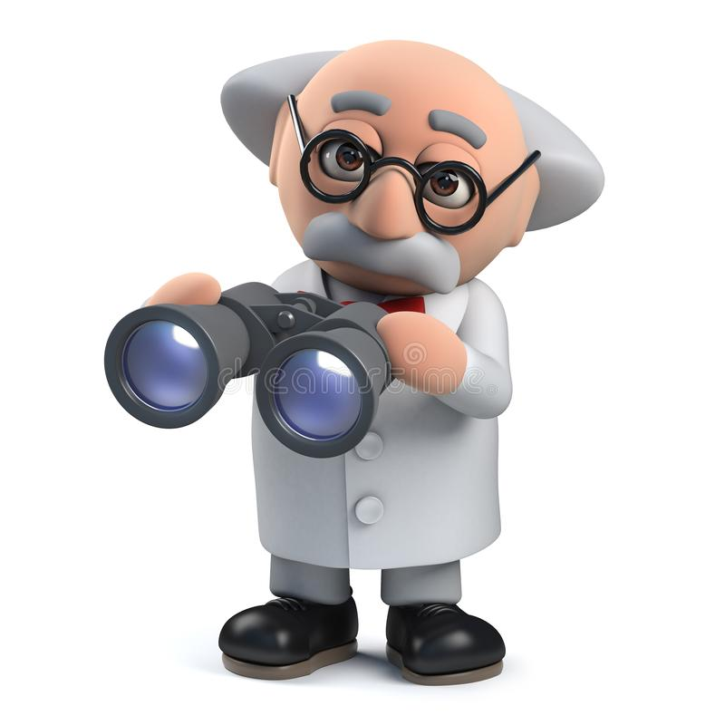 3d Mad scientist professor character using a pair of binoculars vector illustration