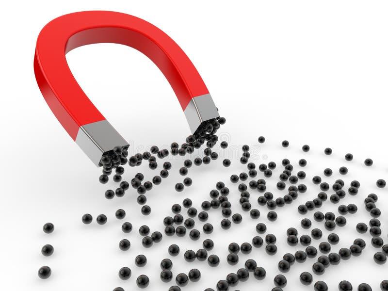 3d magnes przyciąga czarne sfery royalty ilustracja