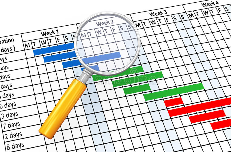 3d magnifier and gantt chart vector illustration