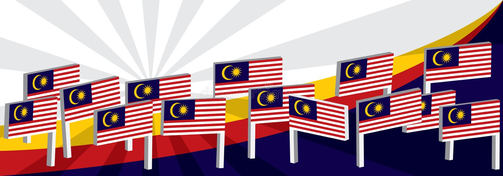 3d Malaysia stand flag curve top stock illustration
