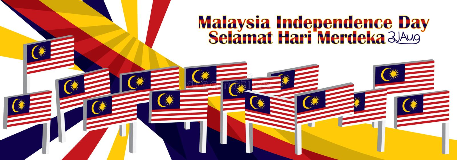 3d Malaysia stand flag side space stock illustration