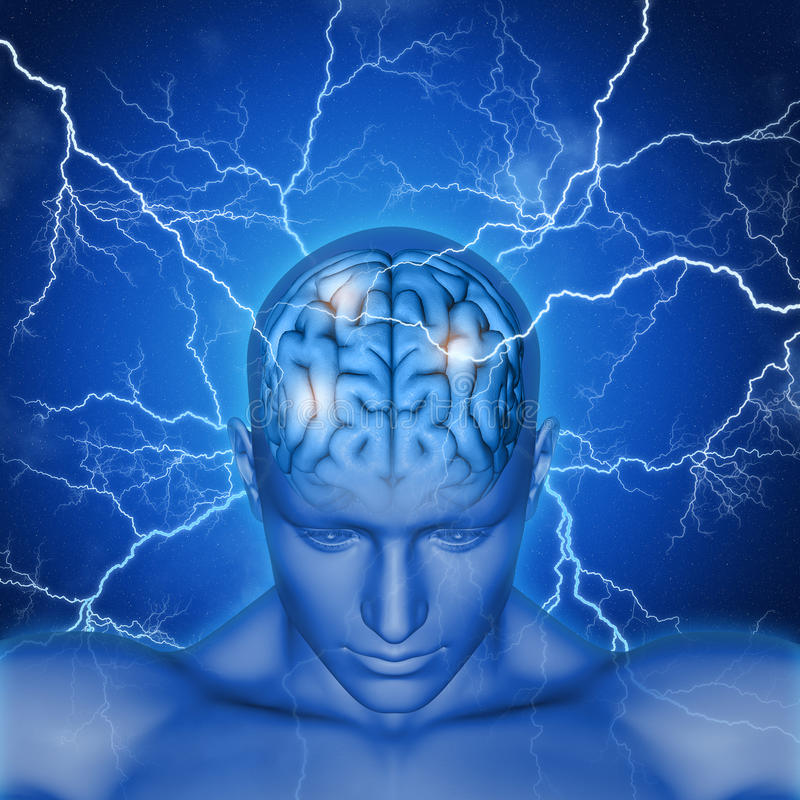 3D male head and brain with lightening stock illustration