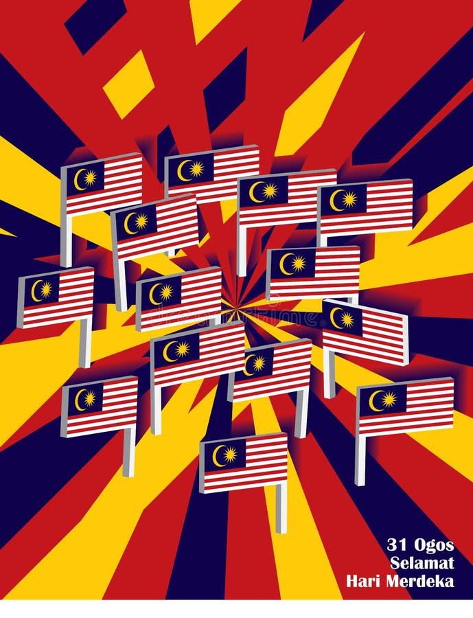 3d Malezja stojaka flagi grupy strona ilustracja wektor
