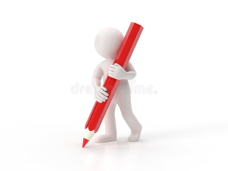 3d mali ludzie - ołówek ilustracja wektor
