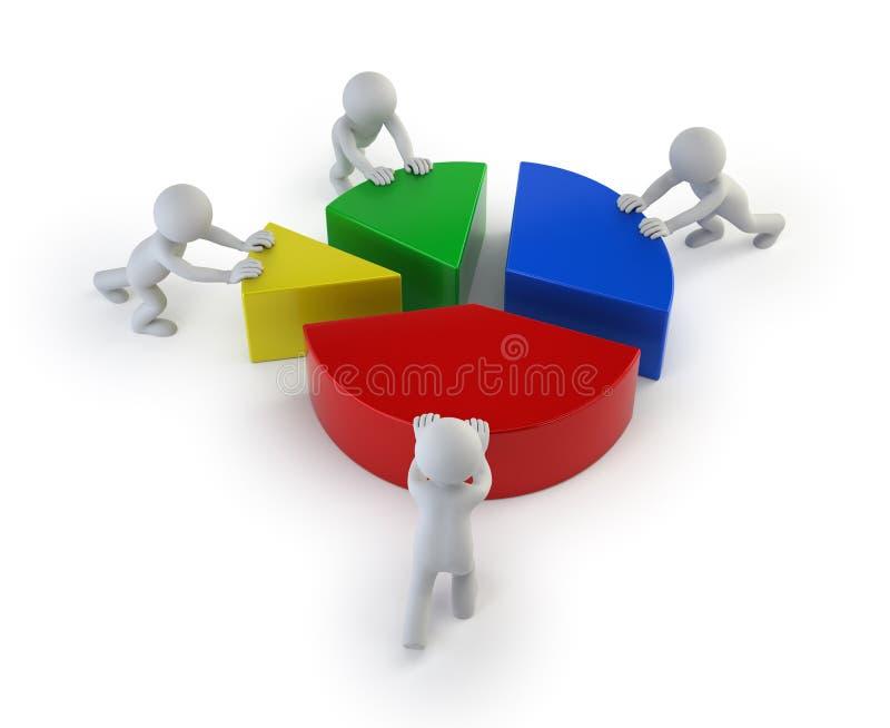 3d mali ludzie - prac zespołowych statystyki ilustracja wektor