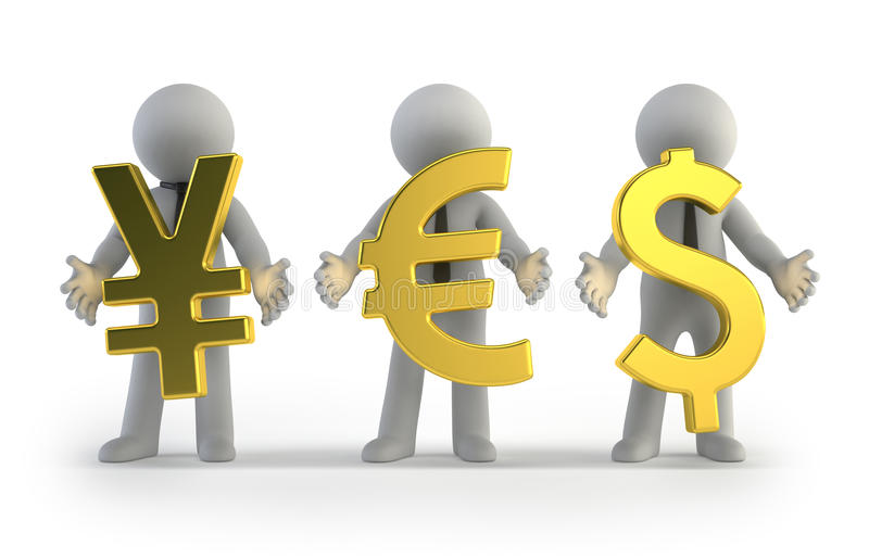 3d mali ludzie - waluta ilustracji