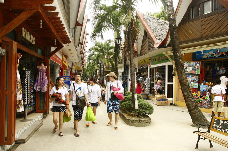 D'Mall Commercial Center at Boracay Beach stock images