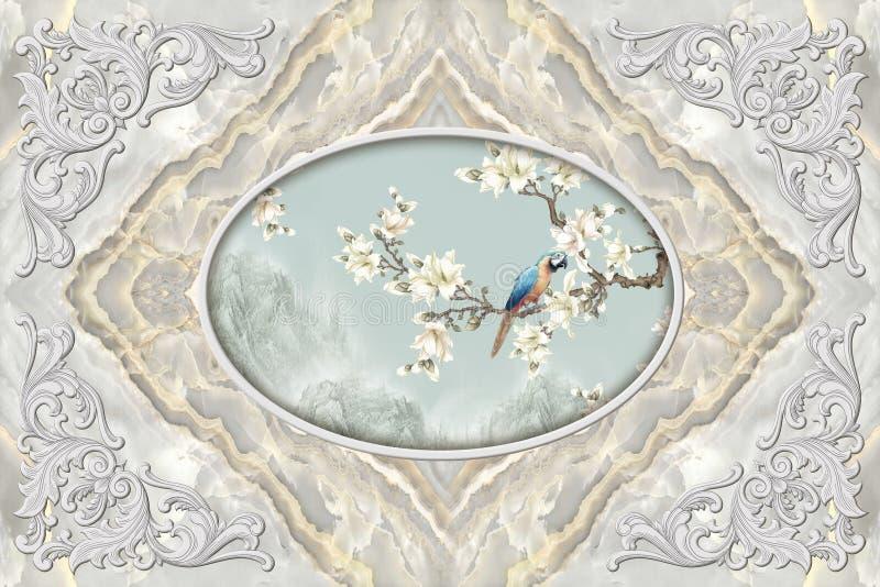 3d malowideł ściennych podsufitowa tapeta, sztukateryjna wystrój rama, papuga na kwiaciastej gałąź w środku na popielatym marmuro ilustracji