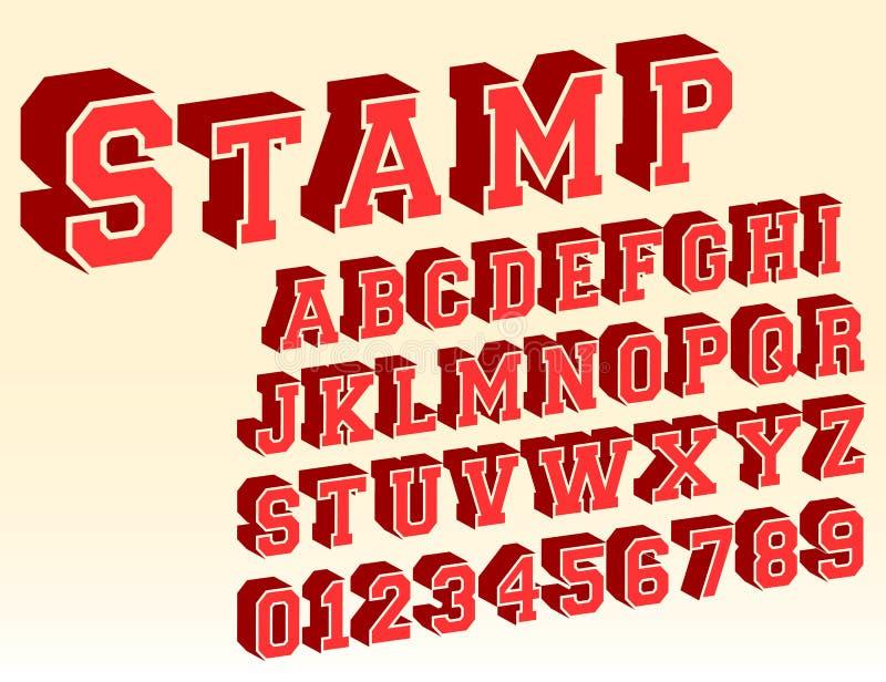3d malplaatje van de alfabetdoopvont vector illustratie