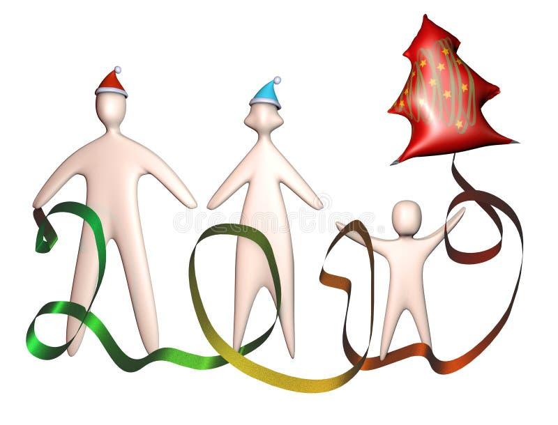 3d mamy rodzinny tata i dzieciak w Santa kapeluszu z chirstmas drzewem szybko się zwiększać ilustracyjnego pełnego ciało ilustracji