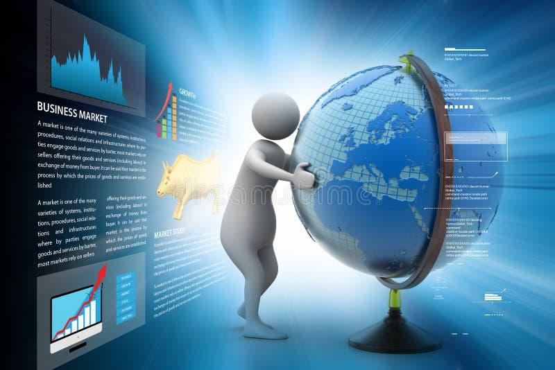 3d man analysing the globe. 3d illustration of man analysing the globe stock illustration