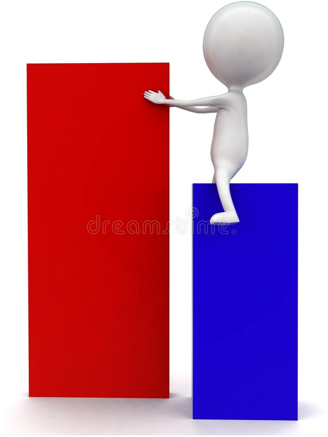 3d man arranging box concept. In white isolated background - 3d rendering ,  side angle view vector illustration
