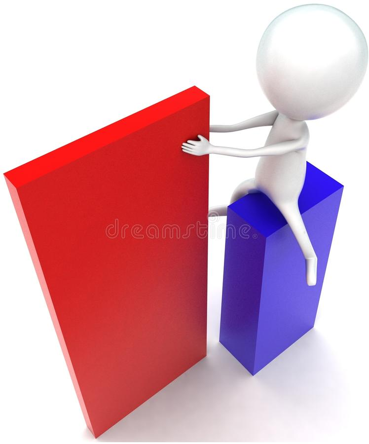3d man arranging box concept. In white isolated background - 3d rendering ,  top angle view royalty free illustration