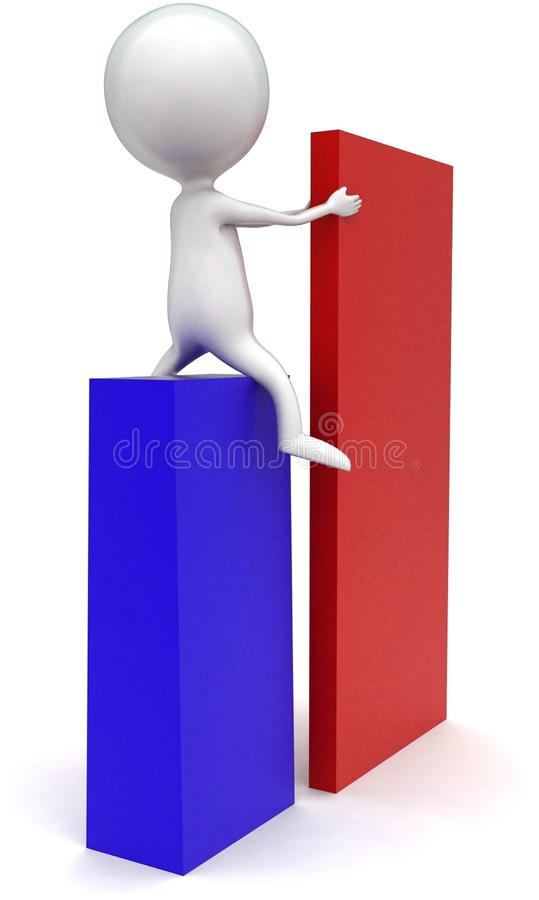 3d man arranging box concept. In white isolated background - 3d rendering ,  back  angle view vector illustration