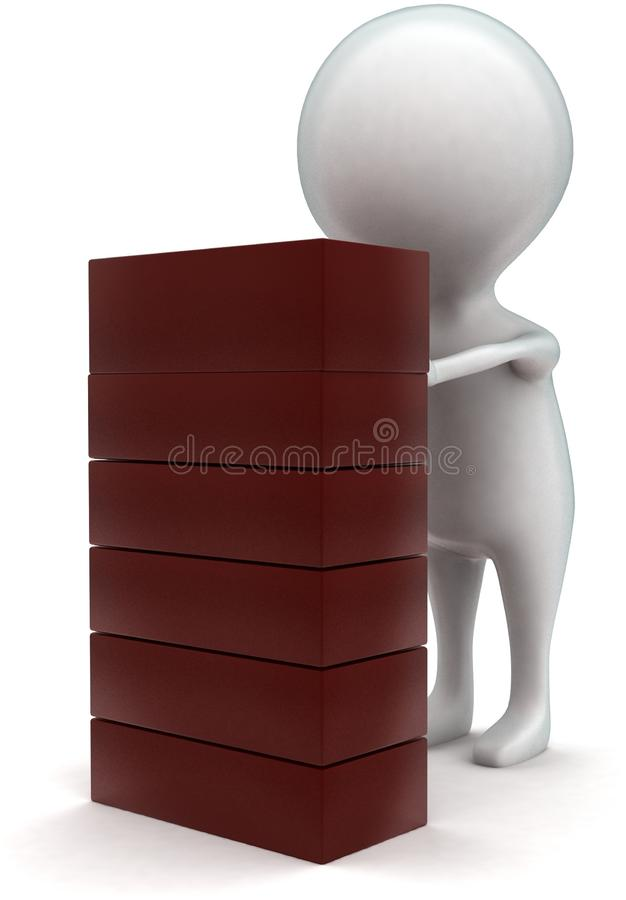 3d man arranging bricks concept. In white isolated background - 3d rendering ,   front  angle view stock illustration