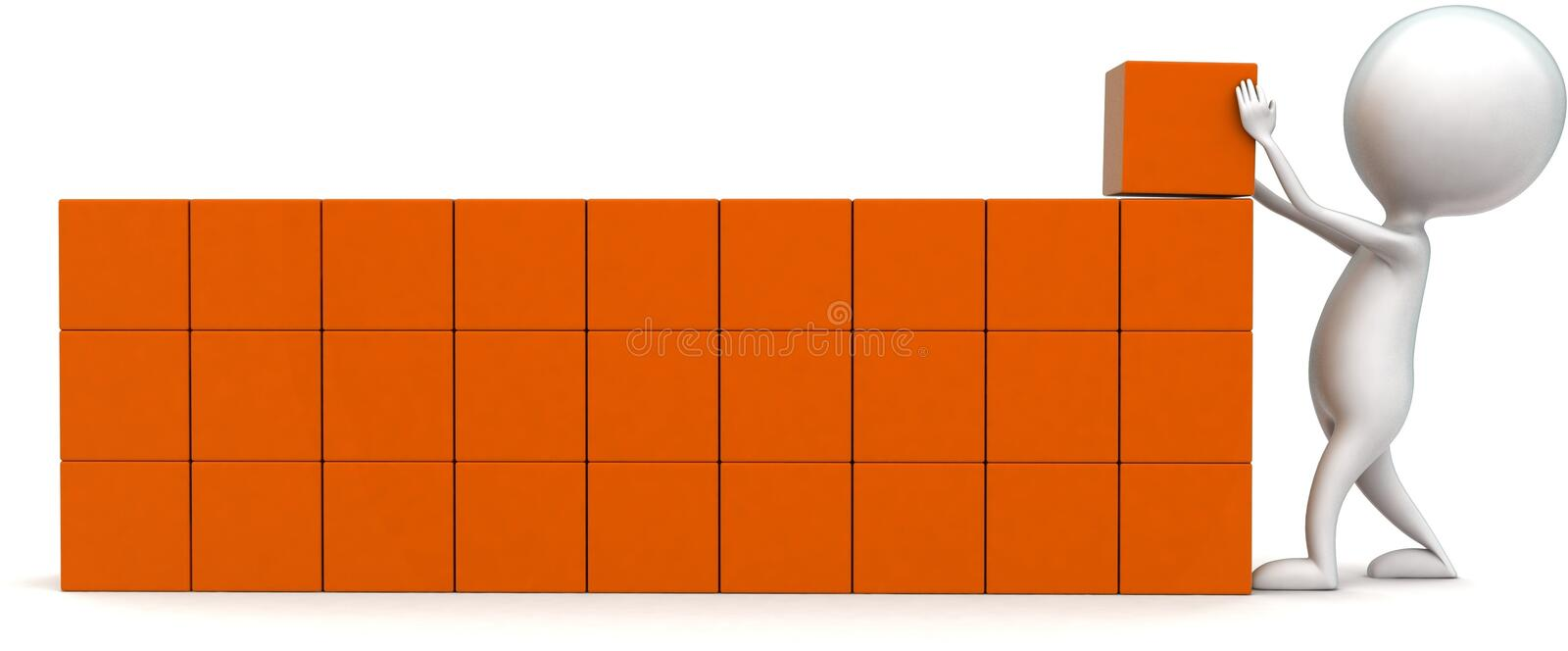 3d man arranging cargo concept. In white isolated background - 3d rendering ,  front angle view royalty free illustration