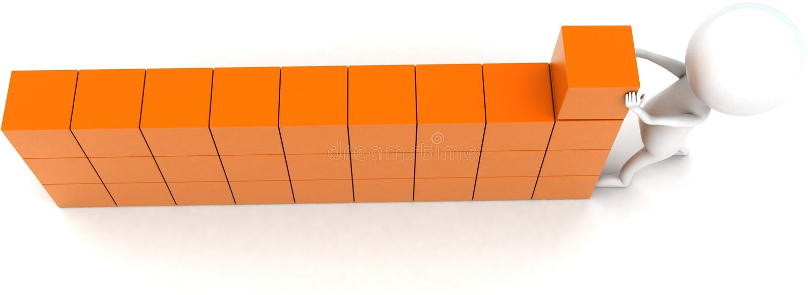 3d man arranging cargo concept. In white isolated background - 3d rendering ,  top angle view stock illustration