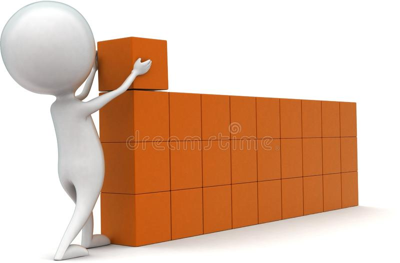 3d man arranging cargo concept. In white isolated background - 3d rendering ,  side angle view stock illustration