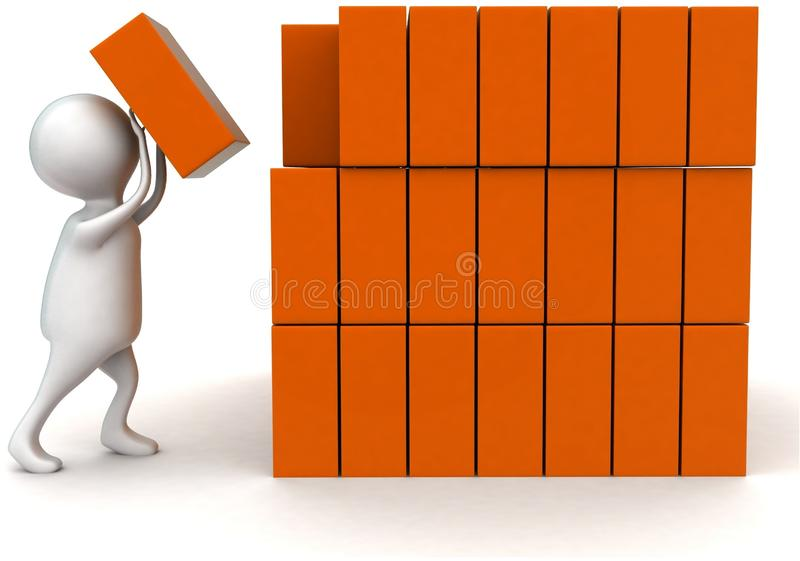 3d man arranging cargos concept. In white isolated background - 3d rendering ,   front angle view stock illustration