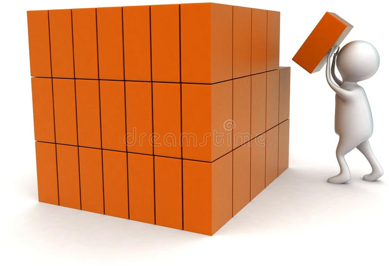 3d man arranging cargos concept. In white isolated background - 3d rendering ,  side angle view vector illustration