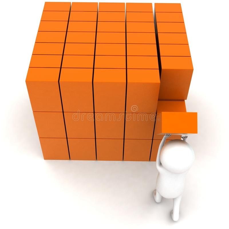 3d man arranging cargos concept. In white isolated background - 3d rendering ,   top angle view stock illustration