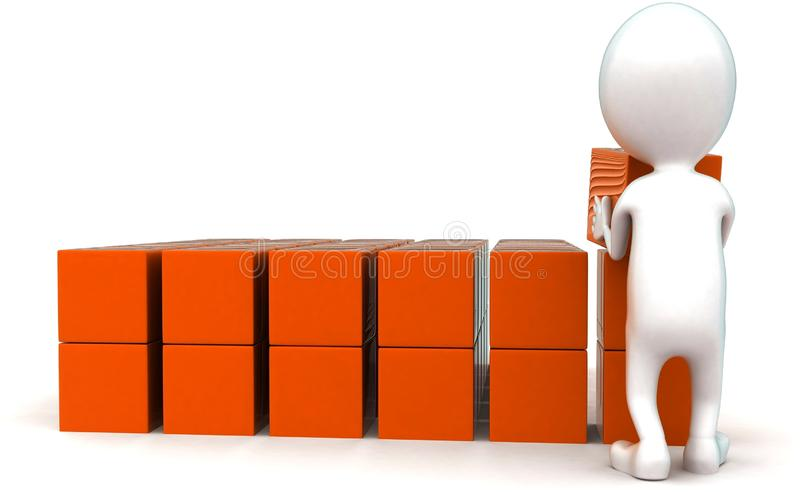 3d man arranging cargos in row concept. In white isolated background ,front angle view royalty free illustration