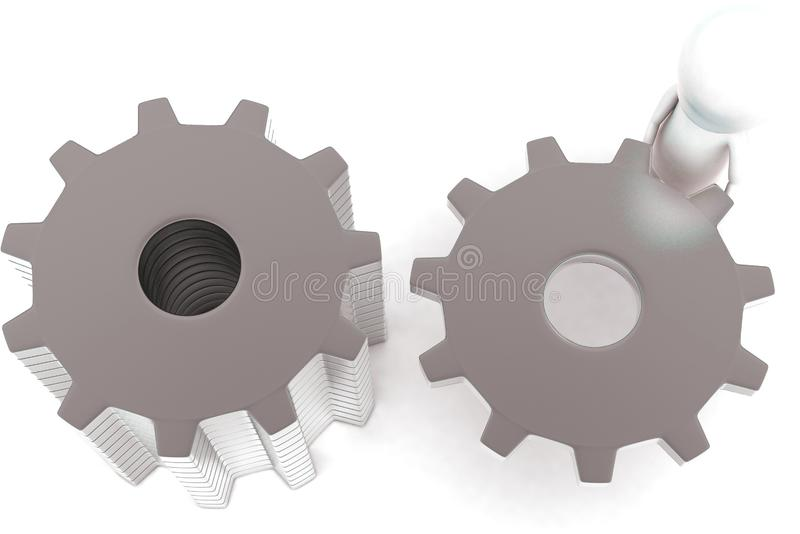 3d man arranging gears by his hands concept. In white isolated background - 3d rendering ,  top angle view stock illustration