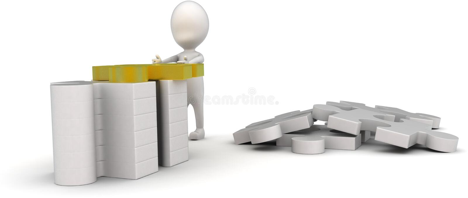 3d man arranging jigsaw puzzle pieces concept. On white background - 3d rendering , front angle view royalty free illustration