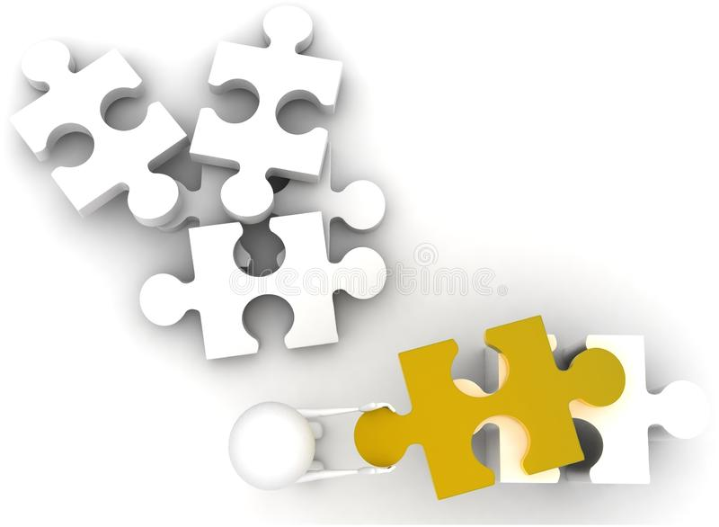 3d man arranging jigsaw puzzle pieces concept. On white background - 3d rendering , top angle view stock illustration