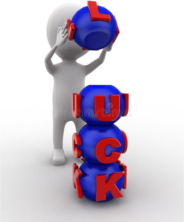 3d man arranging luck sphere concept. On white bakcground, front angle view stock illustration