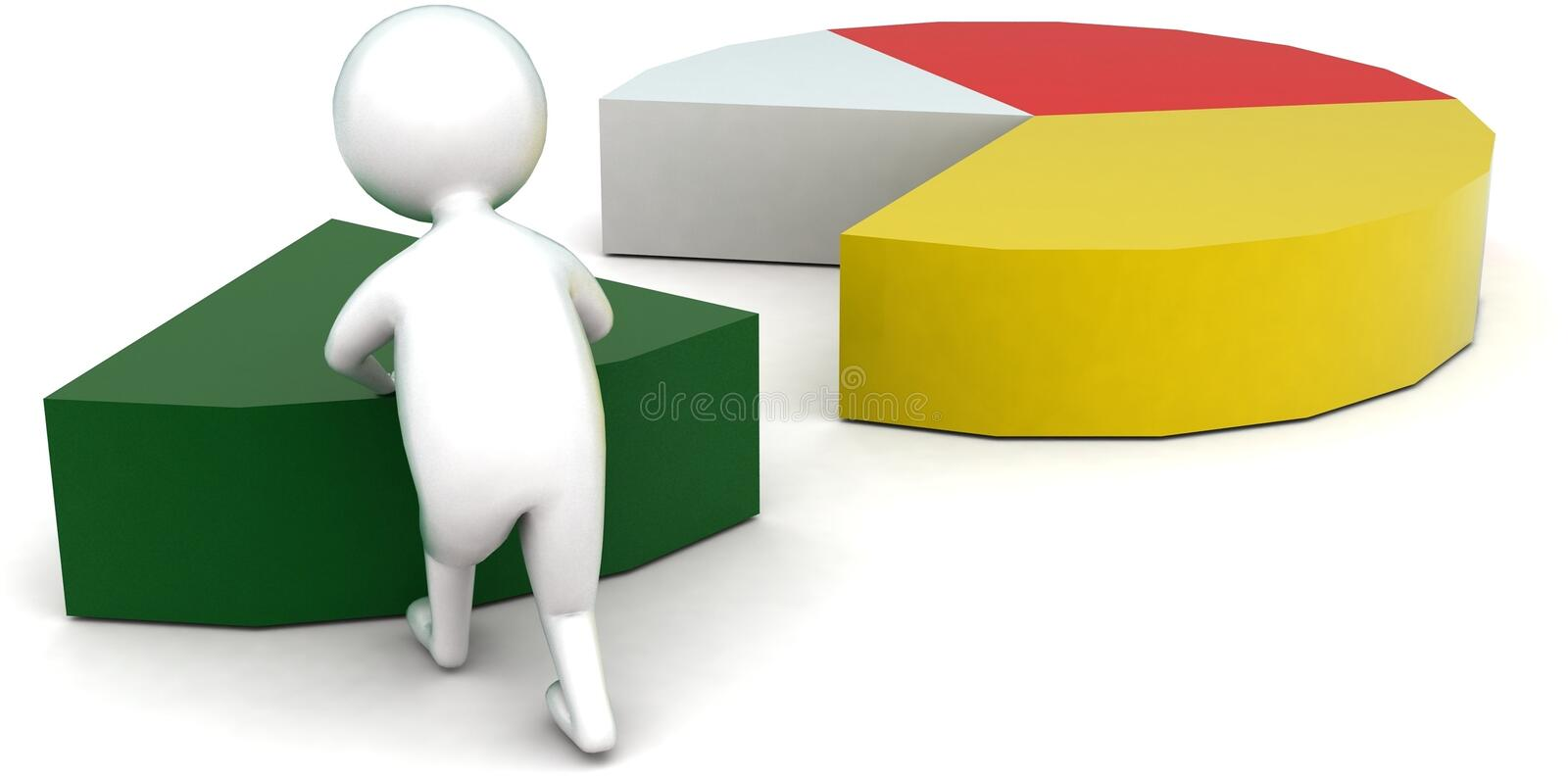3d man arranging pie chart concept. In white isolated background - 3d rendering ,  back angle view stock illustration