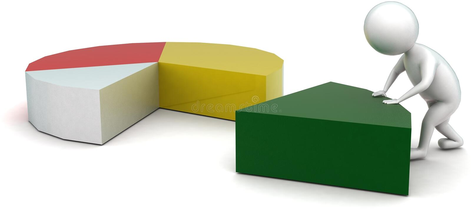 3d man arranging pie chart concept. In white isolated background - 3d rendering ,  side angle view royalty free illustration
