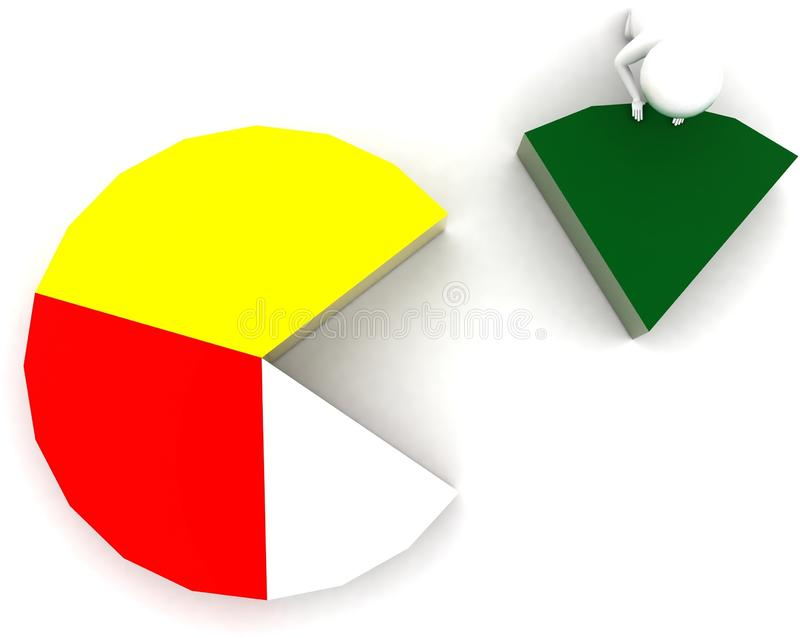 3d man arranging pie chart concept. In white isolated background - 3d rendering ,  top angle view vector illustration