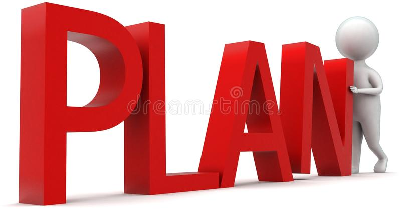 3d man arranging plan text concept. In white isolated background , side angle view stock illustration