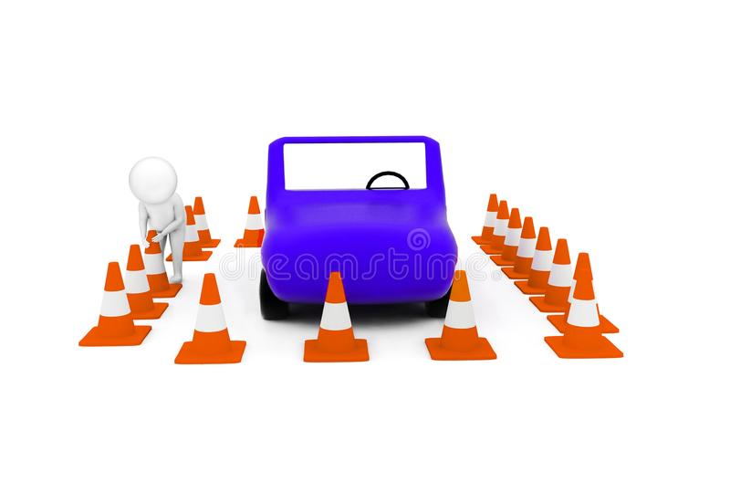 3d man arranging traffic cone around a car concept. In white isolated background - 3d rendering , front angle view stock illustration