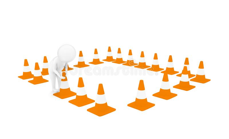 3d man arranging traffic cones concept. In white isolated background - 3d rendering , side angle view vector illustration