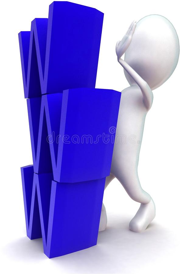 3d man arranging www text vertical concept. In white isolated background , side angle view royalty free illustration