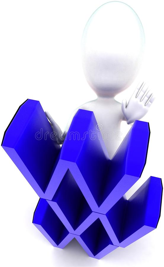 3d man arranging www text vertical concept. In white isolated background , top angle view royalty free illustration