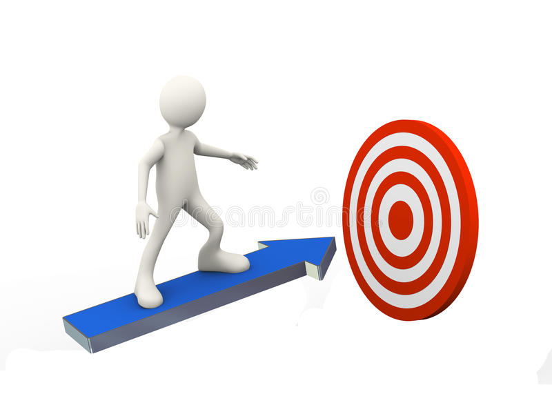 3d man on arrow toward mission target stock illustration