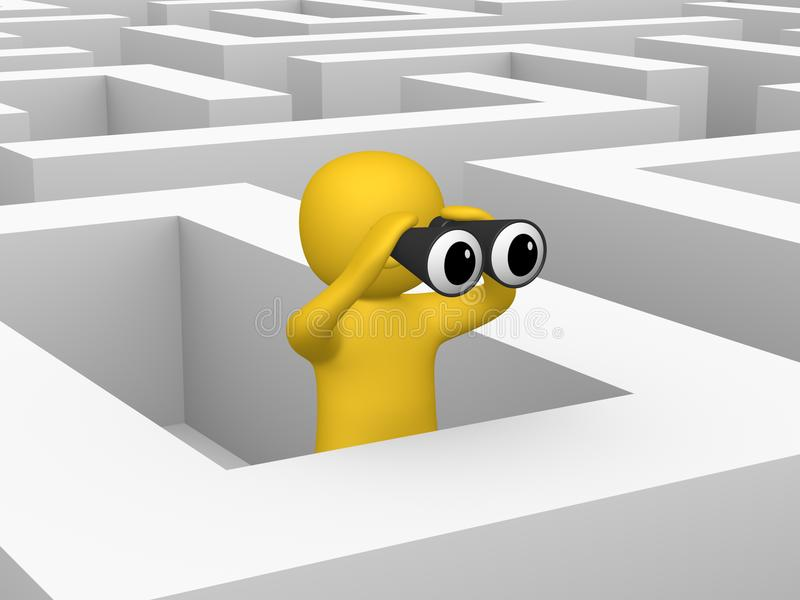 3d man with binoculars inside labyrinth stock images