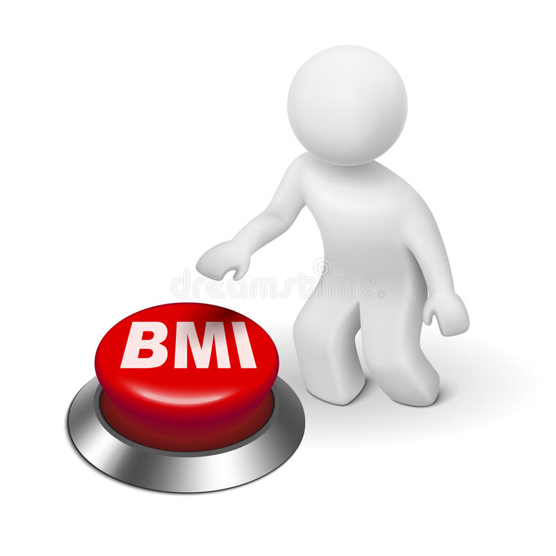 3d man with BMI ( Body Mass Index) button. Isolated white background royalty free illustration