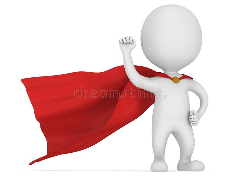 3d man brave superhero with red cloak. Man brave superhero with red cloak and sign of victory - right hand raised up clenched fist. on white 3d render royalty free illustration