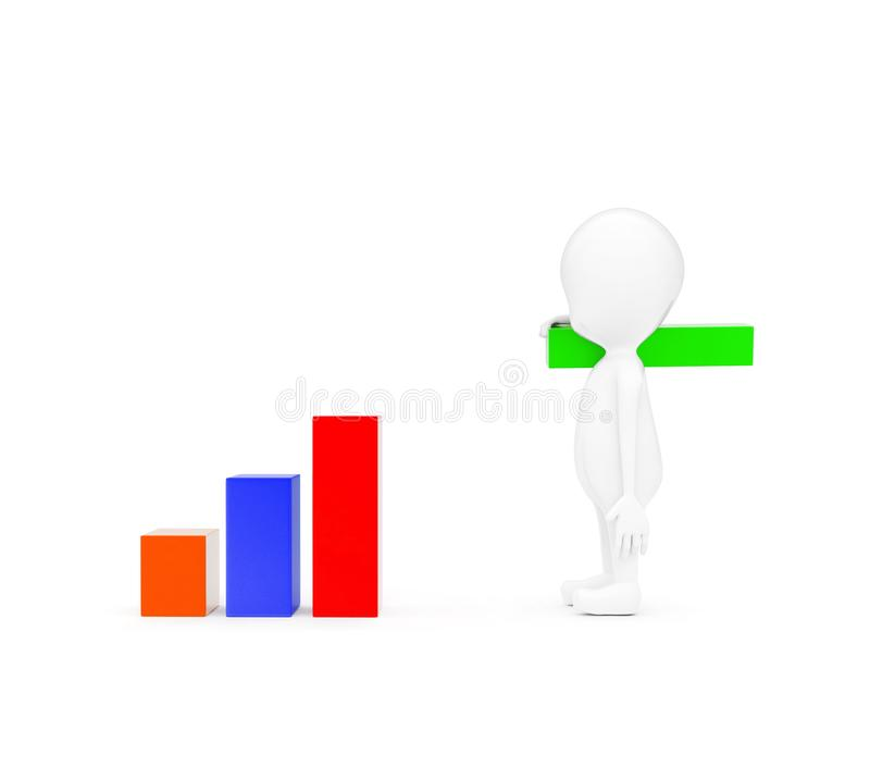 3d man building bar graph from long rectangular cubes concept. On white background - 3d rendering , side angle view royalty free illustration