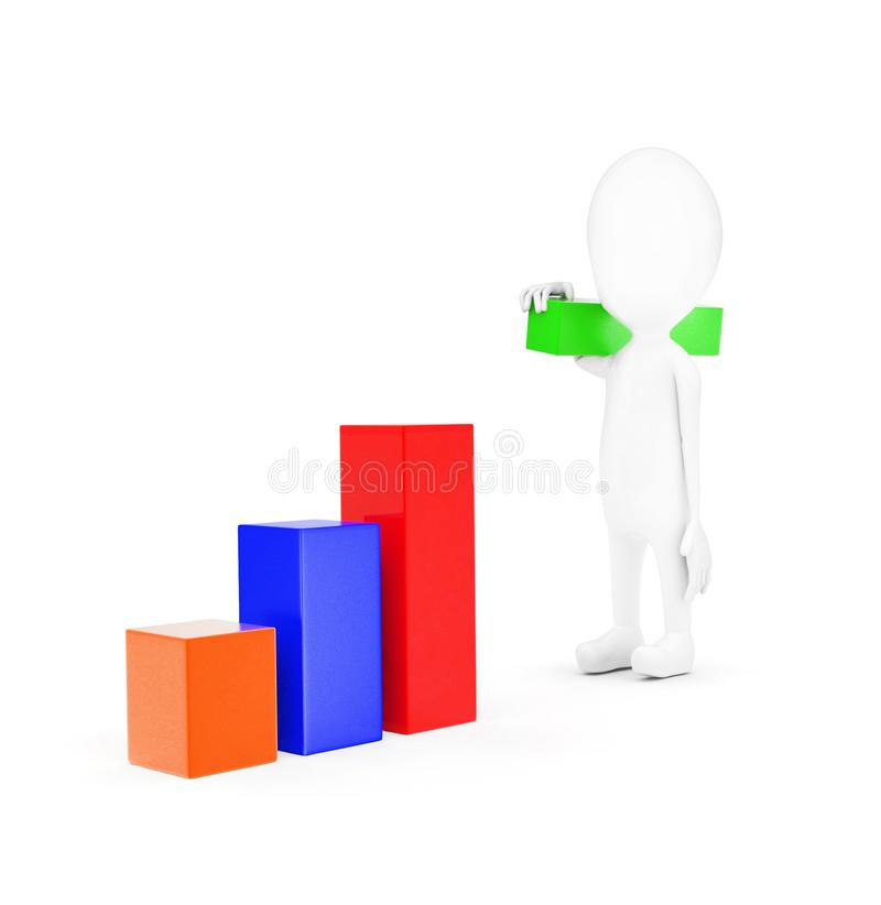 3d man building bar graph from long rectangular cubes concept. On white background - 3d rendering , front angle view royalty free illustration