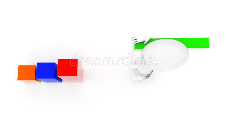 3d man building bar graph from long rectangular cubes concept. On white background - 3d rendering , top angle view stock illustration