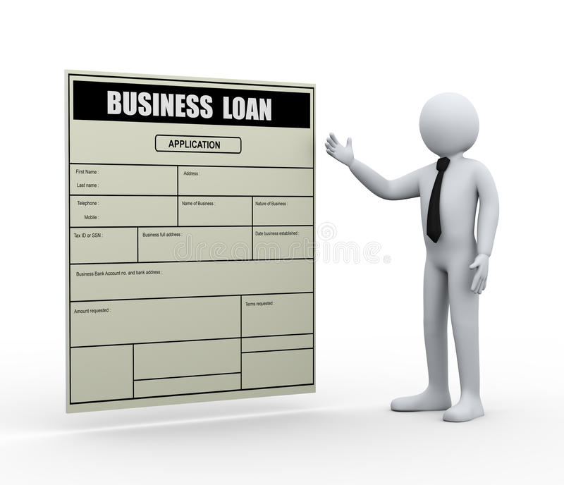 3d man and business loan application stock illustration