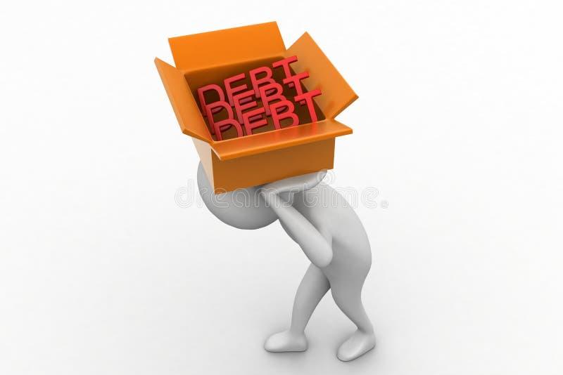3d Man Carrying Debt Inside Cardboard Box Stock Illustration
