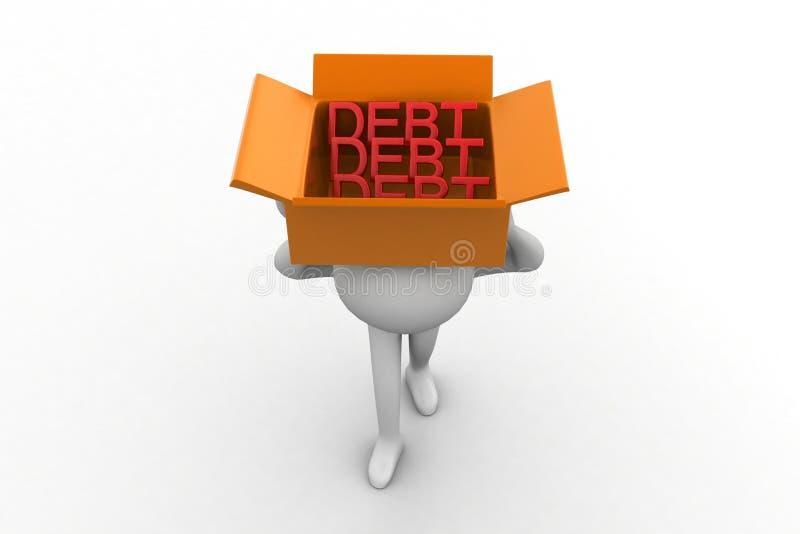 Download 3d Man Carrying Debt Inside Cardboard Box Stock Illustration - Illustration: 40110042